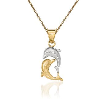 """14kt Yellow Gold Dolphin Pendant Necklace. 18"""", , default"""