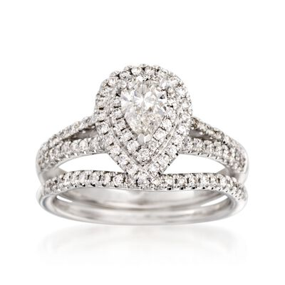 .96 ct. t.w. Diamond Bridal Set: Double Halo Engagement and Wedding Rings in 14kt White Gold