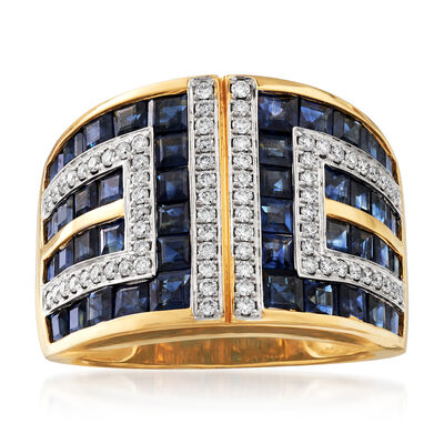 4.00 ct. t.w. Sapphire and .37 ct. t.w. Diamond Geometric Ring in 18kt Yellow Gold, , default