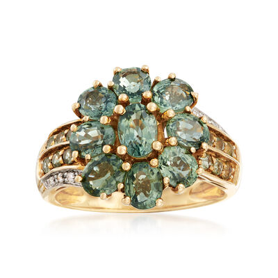 C. 1990 Vintage 5.65 ct. t.w. Green Sapphire Floral Ring With Diamond Accents in 14kt Yellow Gold, , default