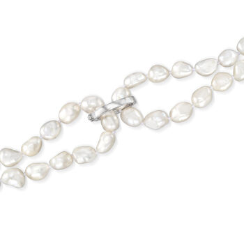 8-9mm Cultured Semi-Baroque Pearl Endless Necklace with Free Sterling Silver Necklace Shortener