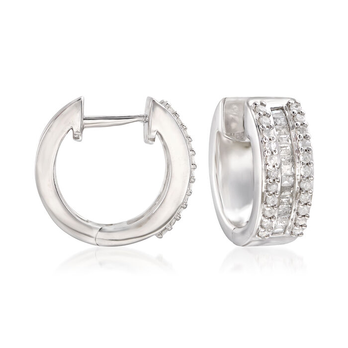 ".50 ct. t.w. Round and Diamond Baguette Huggie Hoops in Sterling Silver. 3/8"", , default"