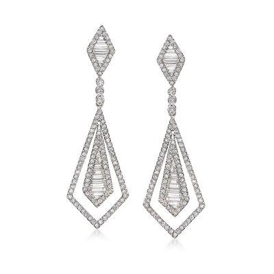 1.71 ct. t.w. Diamond Open-Space Double Kite-Shaped Drop Earrings in 18kt White Gold