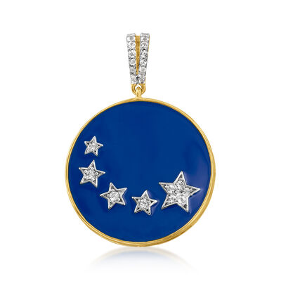 .37 ct. t.w. White Topaz and Blue Enamel Star Pendant in 18kt Gold Over Sterling