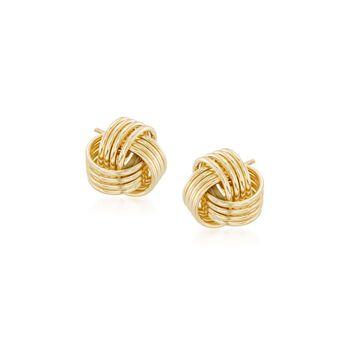 14kt Yellow Gold Love Knot Stud Earrings, , default