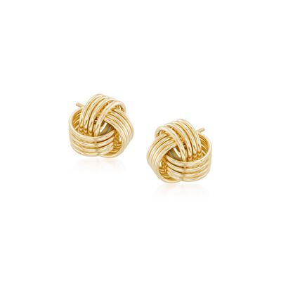 14kt Yellow Gold Love Knot Stud Earrings, , default