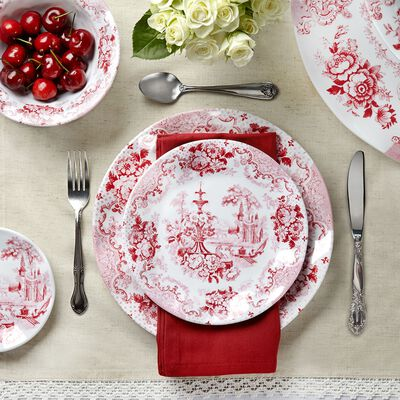 """Cambridge Rose"" Crimson Melamine Dinnerwear, , default"