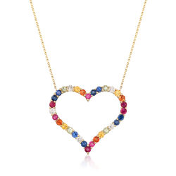 1.80 ct. t.w. Multi-Stone and .29 ct. t.w. Diamond Multicolor Heart Pendant Necklace in 14kt Gold, , default