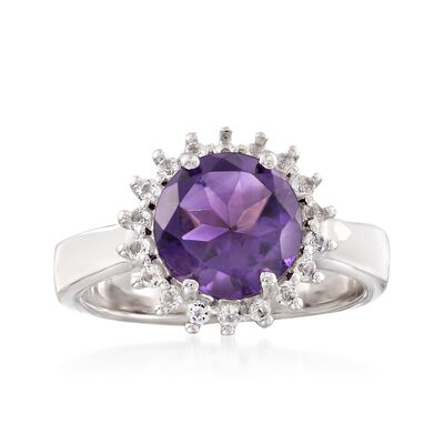 2.20 Carat Amethyst and .30 ct. t.w. White Topaz Halo Ring in Sterling Silver, , default