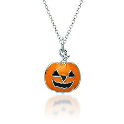 "Sterling Silver and Multicolored Enamel Jack-O-Lantern Charm Necklace. 18"", , default"