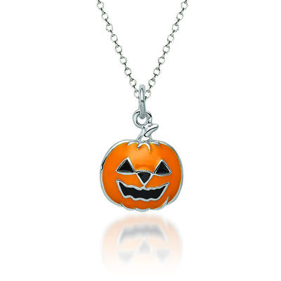 """Sterling Silver and Multicolored Enamel Jack-O-Lantern Charm Necklace. 18"""", , default"""