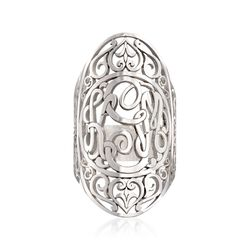 Sterling Silver Scrollwork Oval Ring, , default