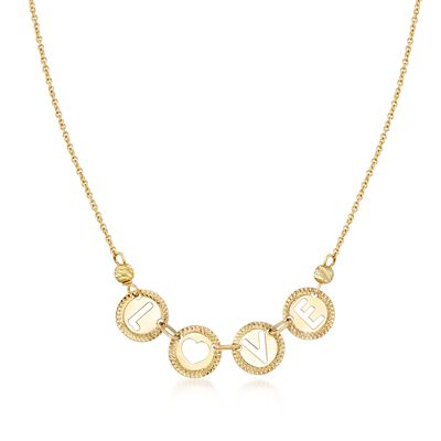 "Italian 14kt Yellow Gold ""Love"" Cutout Disc Necklace, , default"