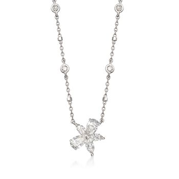 ".97 ct. t.w. Diamond Flower Necklace in 14kt White Gold. 18"", , default"