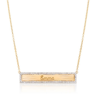 .21 ct. t.w. Diamond Name Bar ID Necklace in 14kt Yellow Gold