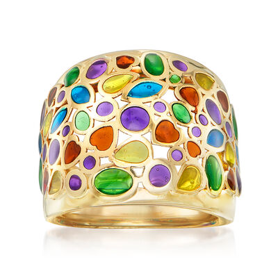 Italian Multicolored Enamel Dome Ring in 14kt Yellow Gold, , default