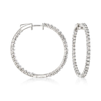 "3.00 ct. t.w. Diamond Inside-Outside Hoop Earrings in Sterling Silver. 1 3/8"", , default"