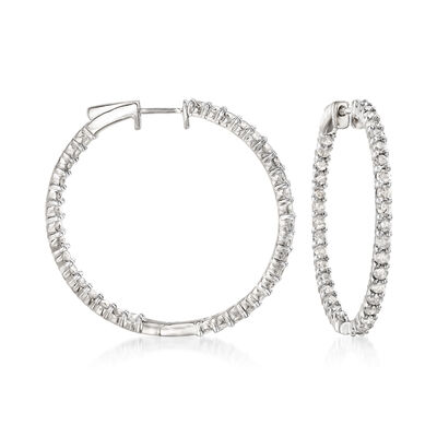 3.00 ct. t.w. Diamond Inside-Outside Hoop Earrings in Sterling Silver, , default