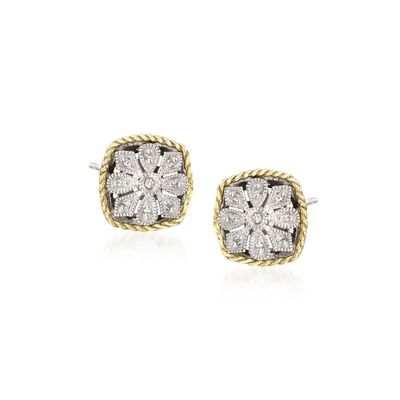 Andrea Candela Diamond Accent Floral Earrings in 18kt Yellow Gold and Sterling Silver, , default