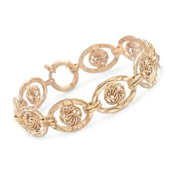 14kt Yellow Gold Over Sterling Silver Oval Link Knot Bracelet, , default