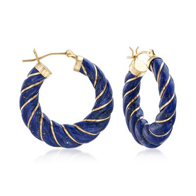 Carved Lapis Hoop Earrings with 14kt Yellow Gold, , default