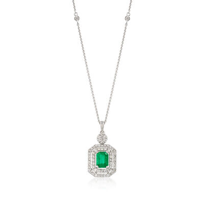 1.10 Carat Emerald and .74 ct. t.w. Diamond Pendant Necklace in 14kt White Gold, , default