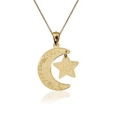 14kt Yellow Gold Moon and Star Pendant Necklace, , default