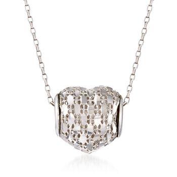 "Italian Sterling Silver Diamond-Cut Heart Barrel Bead Pendant Necklace. 18"", , default"