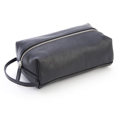 Royce Black Leather Compact Toiletry Bag