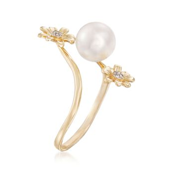 9-9.5mm Cultured Pearl Ring with Diamond Accents in 14kt Yellow Gold, , default