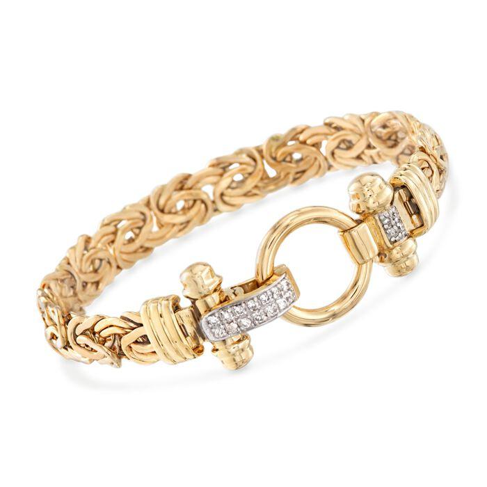 """14kt Yellow Gold Byzantine Bracelet with .27 ct. t.w. Diamonds. 8"""", , default"""