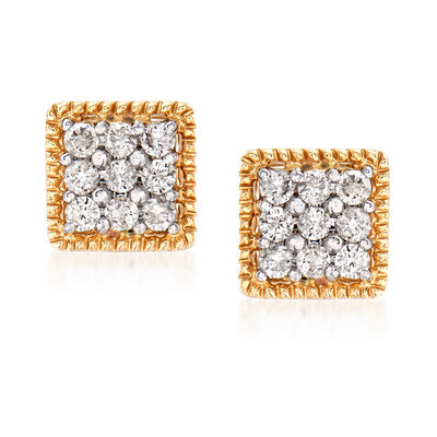 .25 ct. t.w. Diamond Square Stud Earrings in 14kt Yellow Gold, , default