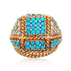 C. 1970 Vintage Turquoise and .50 ct. t.w. Diamond Patchwork Ring in 18kt Yellow Gold. Size 5.5, , default