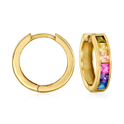 1.80 ct. t.w. Multicolored Sapphire Huggie Hoop Earrings in 18kt Gold Over Sterling