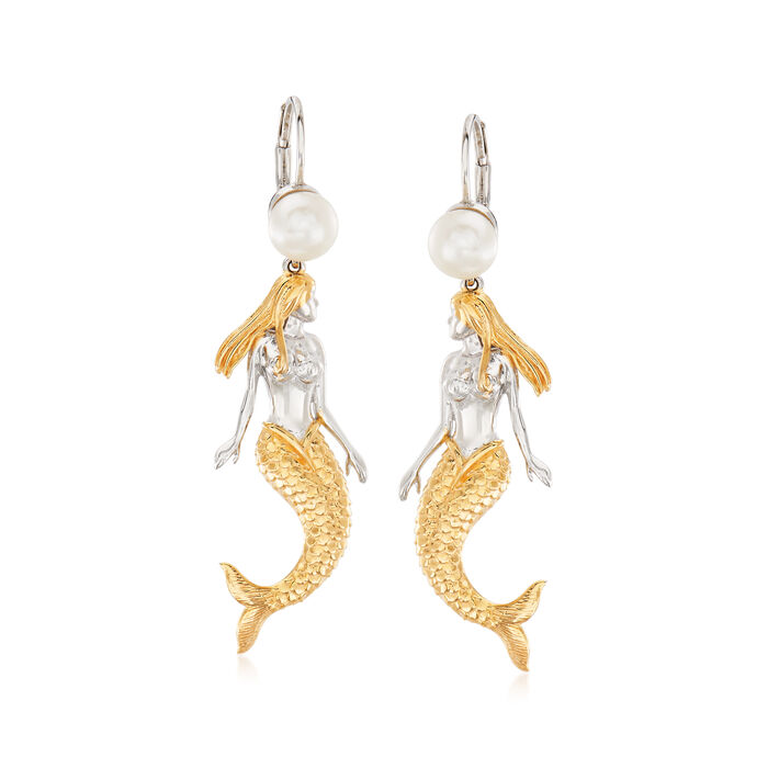 6.5-7mm Cultured Pearl Mermaid Drop Earrings in Sterling Silver and 18kt Gold Over Sterling