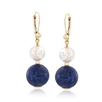 Lapis and 8-8.5mm Cultured Pearl Drop Earrings in 14kt Yellow Gold, , default