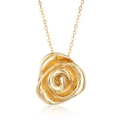 "Italian 14kt Yellow Gold Rose Pendant Necklace. 18"", , default"