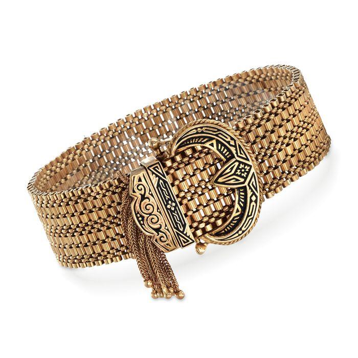 C. 1940 Vintage 14kt Yellow Gold Tassel Buckle Bracelet with Black Enamel