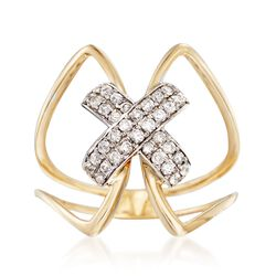 .31 ct. t.w. Diamond X Ring in 14kt Two-Tone Gold, , default