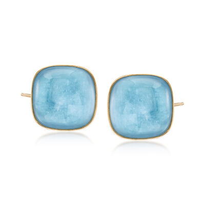 30.00 ct. t.w. Square Milky Aquamarine Earrings in 14kt Yellow Gold, , default