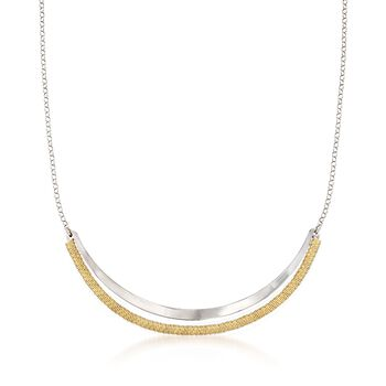 """Italian Two-Tone Sterling Silver Open Curved Bar Necklace. 18"""", , default"""