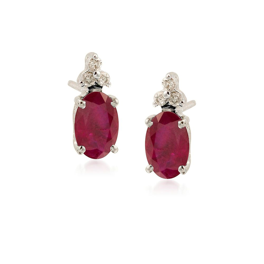T W Ruby Earrings With Diamond Accents In 14kt White Gold Default