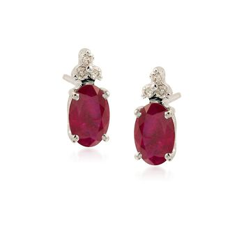 1.10 ct. t.w. Ruby Earrings With Diamond Accents in 14kt White Gold, , default