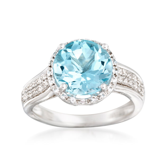 4.50 Carat Blue Topaz and .20 ct. t.w. White Topaz Ring in Sterling Silver, , default