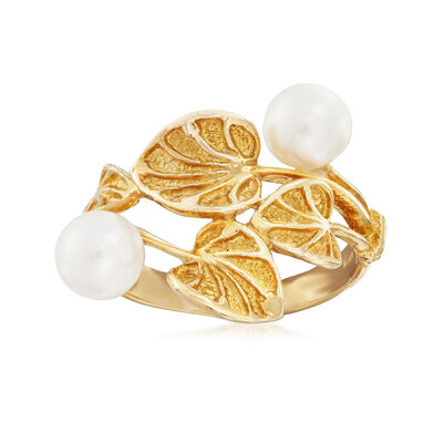 Italian Cultured Pearl and Vine Motif Ring in 24kt Gold Over Sterling, , default