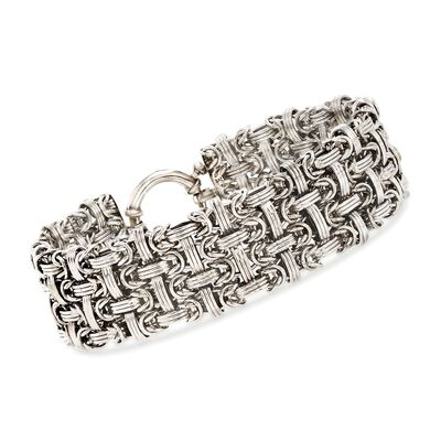 Sterling Silver Basketweave Bracelet, , default