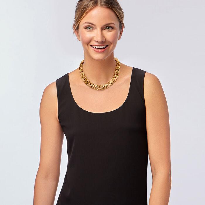 "C. 1990 Vintage 18kt Two-Tone Gold Byzantine Necklace. 17.5"""