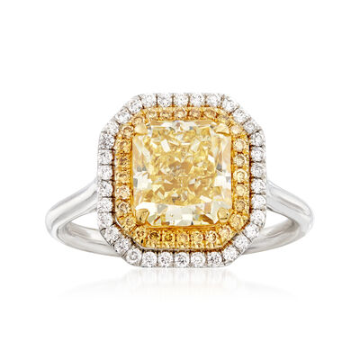 3.20 ct. t.w. Yellow and White Diamond Ring in 18kt Two-Tone Gold, , default