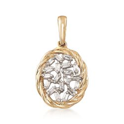 .14 ct. t.w. Baguette Diamond Pendant in 14kt Yellow Gold, , default