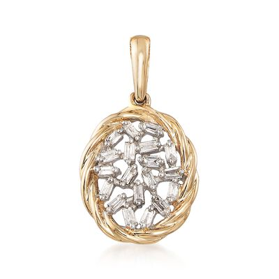 .14 ct. t.w. Baguette Diamond Pendant in 14kt Yellow Gold , , default